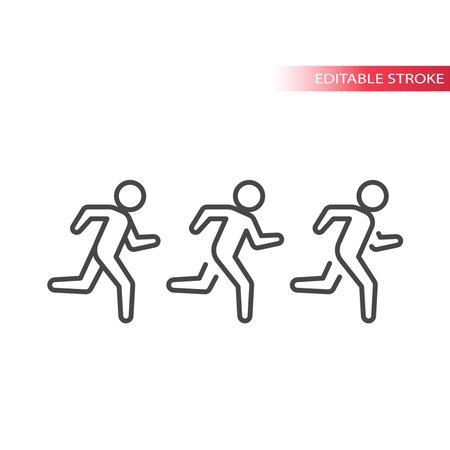 Running man line vector icon. Outline, editable stroke.