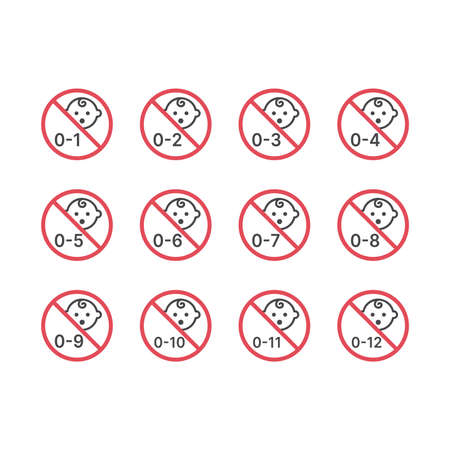 No baby prohibition vector icon set. Months for baby products symbols.