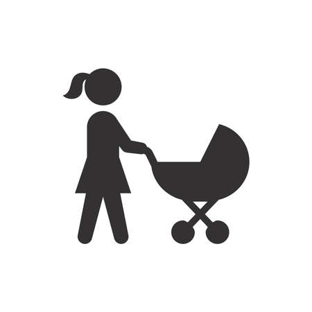 Mother and baby stroller black vector icon. Woman pushing pram symbol. Vettoriali