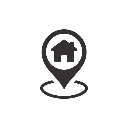 Location pin with house black vector icon. Home marker pointer symbol.