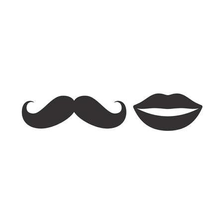 Mustache and lips black vector icon. Men and women, moustache symbol.