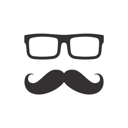 Man mustache and glasses icon. Moustache and glasses, geek or hipster style.