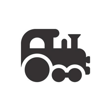 Baby train toy black vector icon. Glyph symbol.