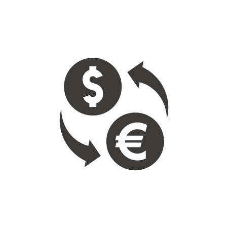 Dollar and euro exchange with arrows. Black vector icon.