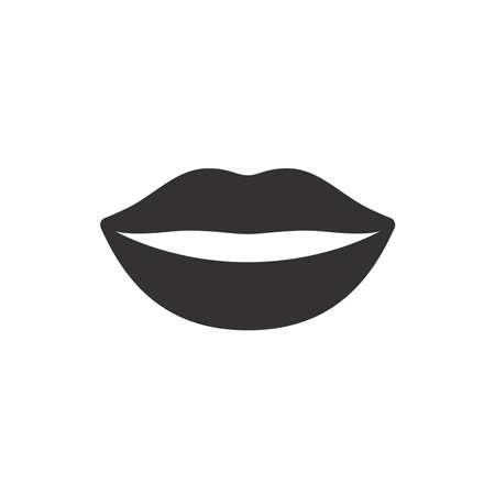 Female pretty lips black vector icon. Woman lips symbol. Vettoriali
