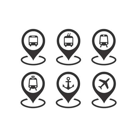 Public transport location pin vector icon set. Bus, subway and train station, airport marker symbols.