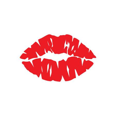 Female lipstick kiss print. Woman lips red vector icon. Vettoriali