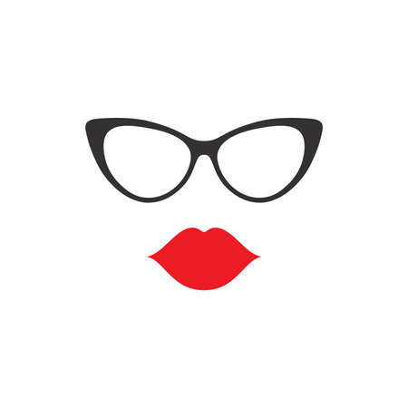 Female lips and glasses vector icon. Woman face illustration.