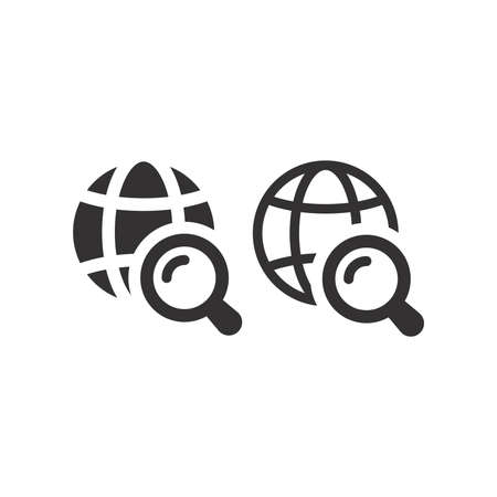 Globe with magnifying glass vector icon. Website, web search black symbol. Vettoriali
