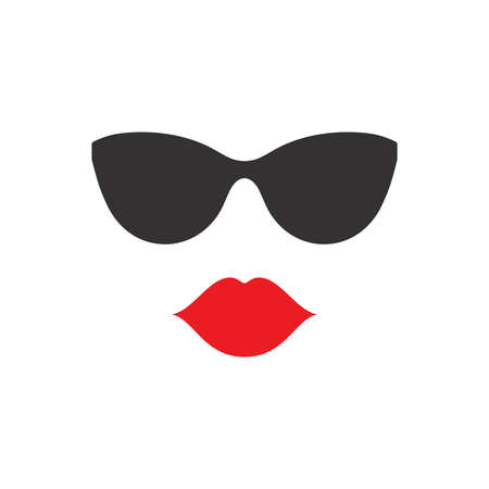 Female pretty red lips and sunglasses. Lips and glasses, woman face icon.