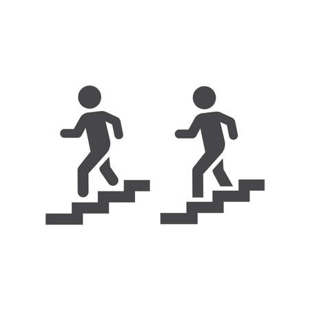 Man going down stairs vector icon. Staircase simple symbol.