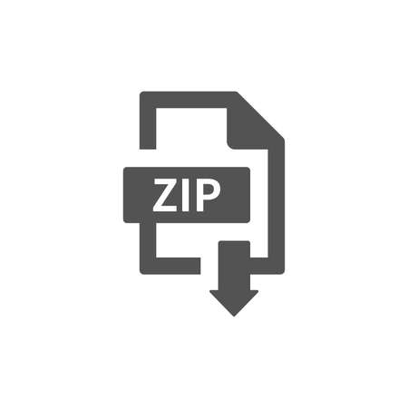 Zip file download with arrow button. Simple black icon.