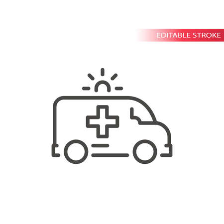 Ambulance with siren line vector icon. Outline, editable stroke. Vettoriali