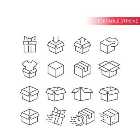Outline box vector icon set. Open, closed, package parcel boxes. Editable stroke.