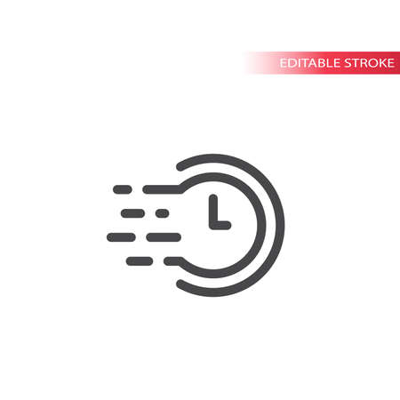 Clock with speed marks line vector icon. Fast time symbol, editable stroke.