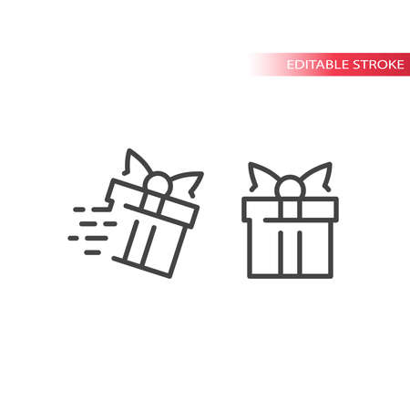 Gift box with speed marks line vector icon. Fast delivery symbol, editable stroke.