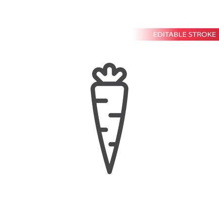 Carrot simple line vector icon. Outline, editable stroke.