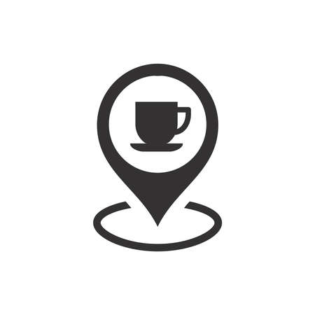 Location pin with coffee cup icon. Map pointer for cafe or cafeteria, diner.