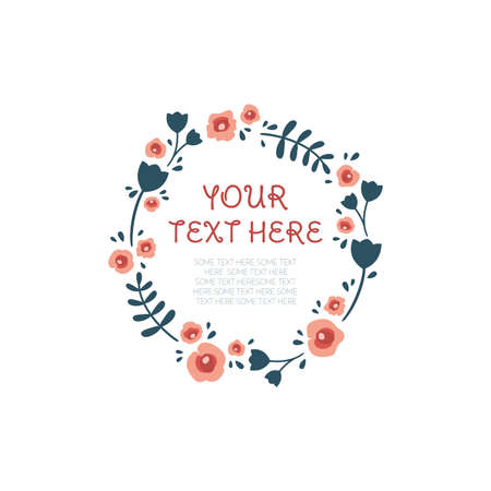 Floral circle vector frame template. Colorful flower frame.