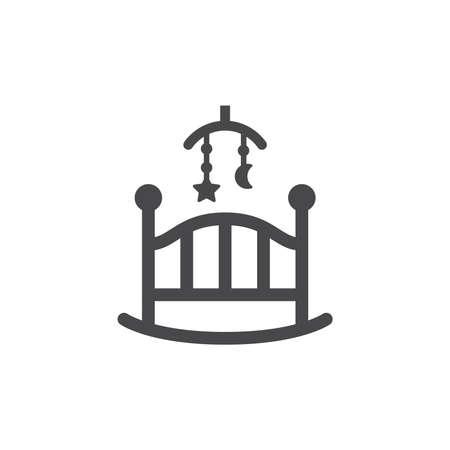 Baby rocking crib or cradle swing vector icon. Black glyph symbol. Vettoriali