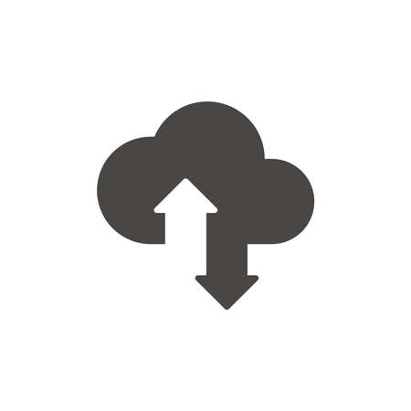 Cloud data storage with arrows icon. Uploading and downloading concept symbol.