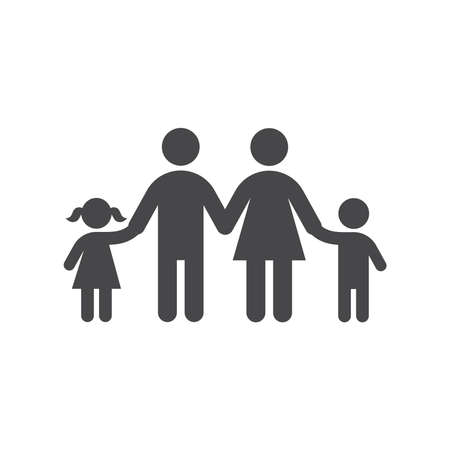 Family holding hands vector icon. Mother, father with children, son and daughter symbol. Vettoriali