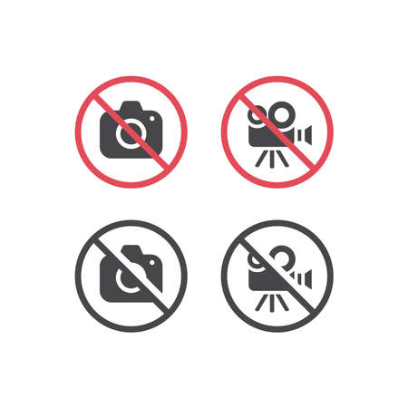 No camera and no video red prohibition sign. No photographing or filming icon. Vettoriali