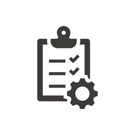 Clipboard checklist with gear cogwheel icon. Document processing symbol. Vettoriali