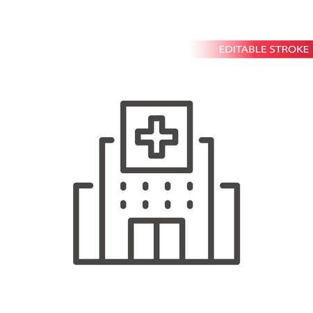 Hospital building with medical cross icon. Thin line vector, editable stroke.