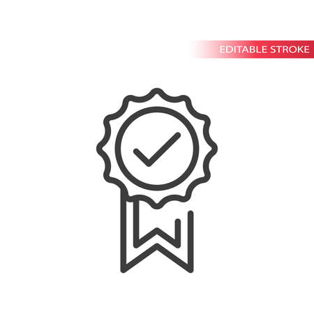 Award badge with tick mark or checkmark. Line vector icon, quality symbol. Vettoriali