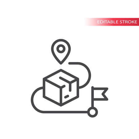 Delivery box route with location pin and flag. Tracking parcel on map line vector icon. Vettoriali