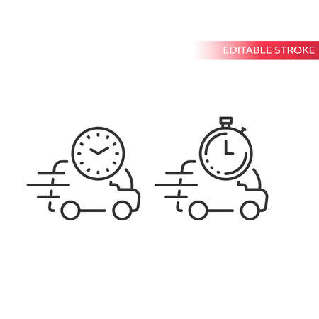 Delivery van or truck with clock line vector icon. Fast delivery on time symbol.