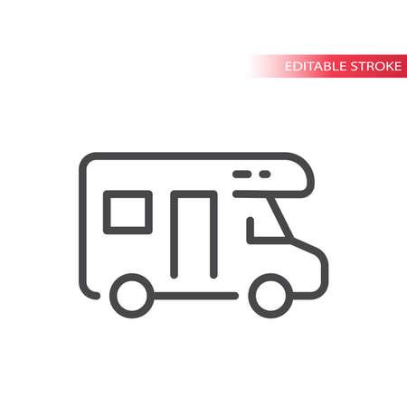 Camper thin line vector icon. Travel symbol, editable stroke.