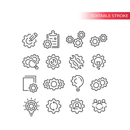 Cogwheel or gear with lightbulb, pencil icon set. Cogs, cogwheels and people, clipboard, settings or process symbol. Line vector, editable stroke. Vettoriali