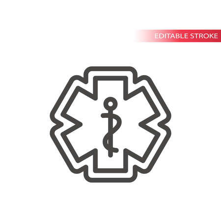First aid, medical emergency vector icon. Rod of asclepius or aesculapius with snake, ems icon, editable stroke.