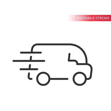 Fast delivery van with speed marks icon. Thin line, editable stroke. Vettoriali