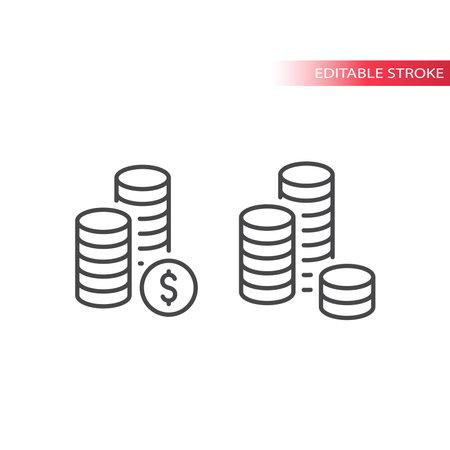 Dollar coin stack line vector icon. Outline, editable stroke.