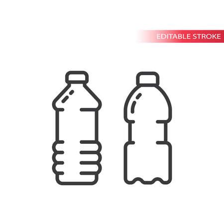 Water bottle line vector icon. Outline, editable stroke. Vettoriali