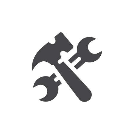 Wrench or spanner and hammer crossed icon. Under construction black vector symbol.