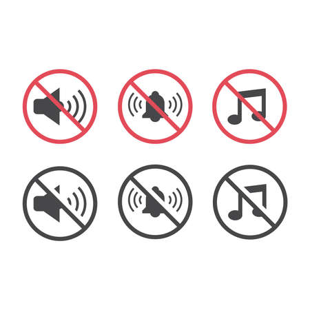 No noise red prohibition sign set. No music, no sound signs with megaphone, bell and music notes vector icon.