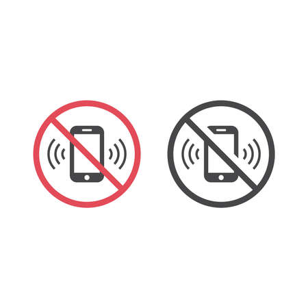 No phones ringing red prohibition sign. Do not use phone vector icon.