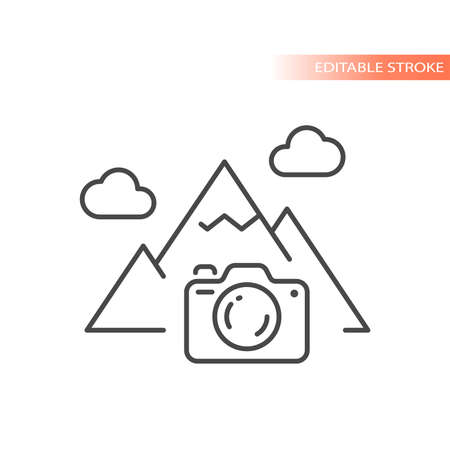 Photo camera, nature photography line icon. Mountain with clouds, picture vector symbol, editable stroke.
