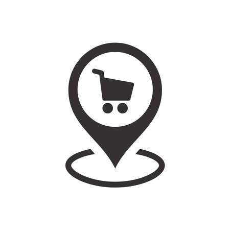 Shopping center or store location pin for map. Black vector icon.