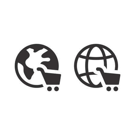 Globe with shopping cart vector icon. Black planet, e commerce, online store symbol.