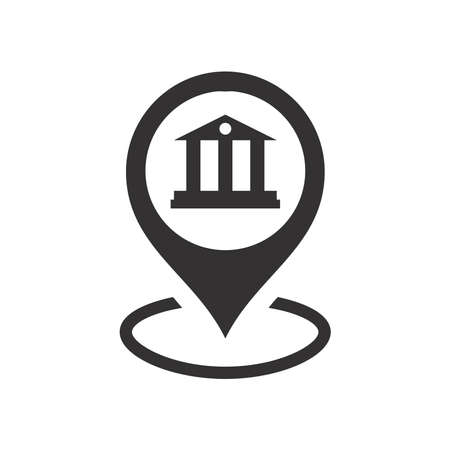 Bank or courthouse location pin for map. Black vector icon. 矢量图像