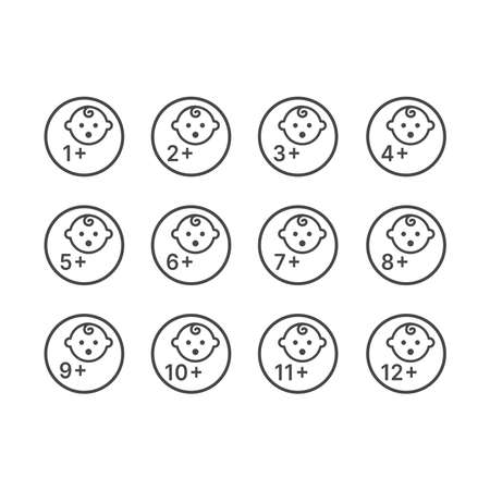 Babies plus age sign for packaging instructions. Months for baby products symbols. 矢量图像