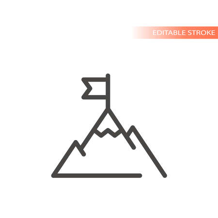 Mountain top or peak with flag line vector icon. Business achievement goal outline, editable stroke.