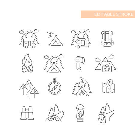 Outdoors, nature activities line icon set. Cute camping and hiking icons, editable stroke. 矢量图像