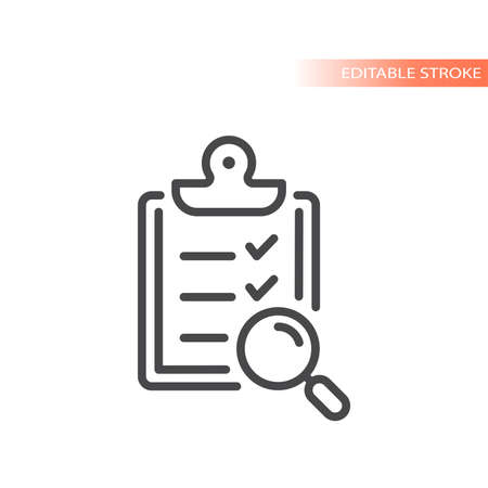Clipboard with checklist and magnifying glass. Check mark and magnifier line vector icon, editable stroke.