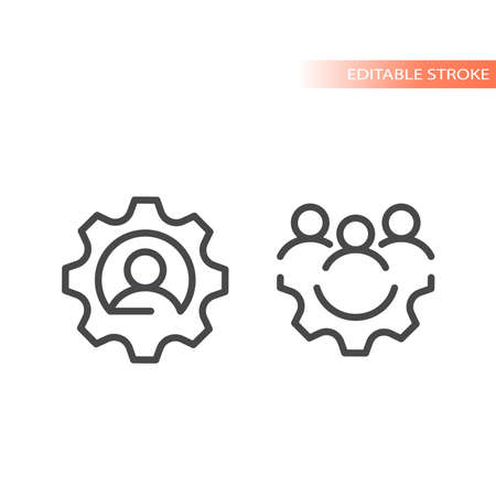 Gear or cogwheel with group of people icon. Team, human resources or management line vector, editable stroke.
